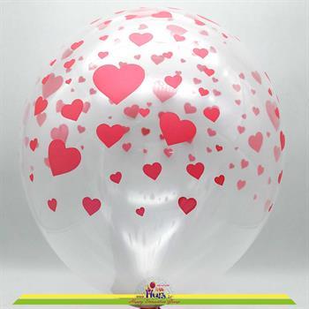 بادکنک شیشه ای چاپ قلب قرمز 12 اینچ