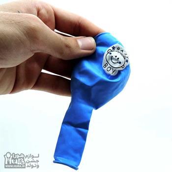 بادکنک آبی چاپ بیبی 12 اینچ