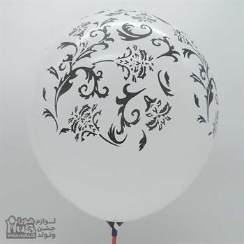 بادکنک سفید چاپ گل و بوته 12 اینچ