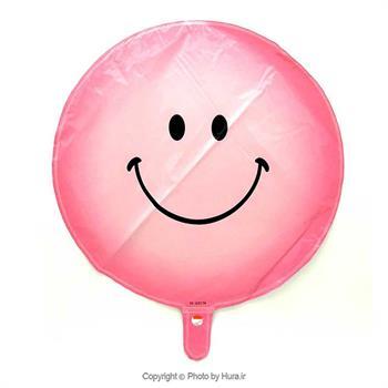 بادکنک فویلی دایره ای ایموجی لبخند صورتی