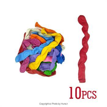 بادکنک کنگره پیچی چند رنگ 10 عددی