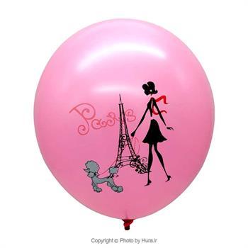 بادکنک گرد 12اینچ صورتی چاپ پاریس