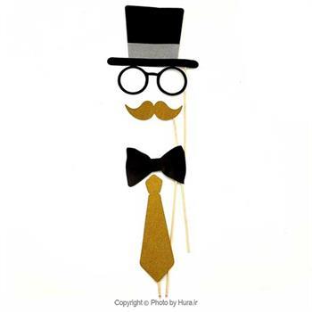 ست کلاه عینک سیبیل پاپیون کراوات طلایی مشکی