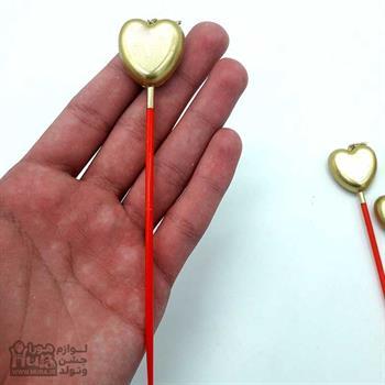 شمع 4 عددی قلب چوبدار طلایی