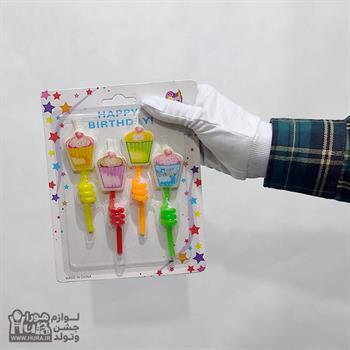 شمع تولد فنری چاپ دار مدل جعبه کادو 4 عددی