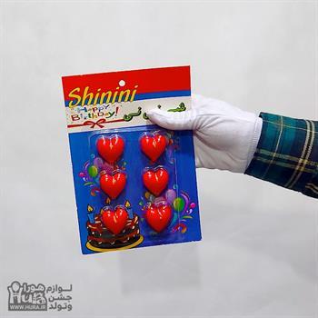 شمع تولد قلب قرمز 6 عددی
