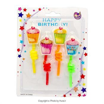شمع 4 عددی فنری  چاپ دار طرح کیکی