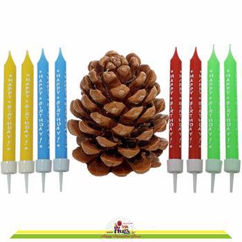 شمع تولدی 8 عددی باریک چاپ دار