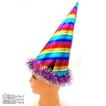کلاه بوقی بلند لیزری با نخ اعلاء رنگین کمان طرح 4