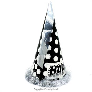 کلاه بوقی متوسط اکلیلی خالدار زری دار مشکی با خال سفید طرح 4