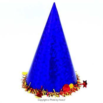 کلاه بوقی کوتاه لیزری با نخ معمولی  آبی