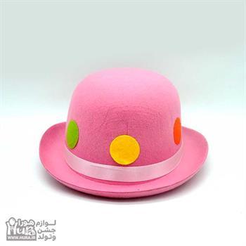 کلاه لبه دار بلند انگلیسی نمدی صورتی