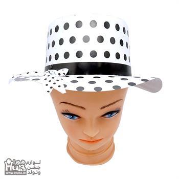 کلاه لبه دار سفید خال مشکی