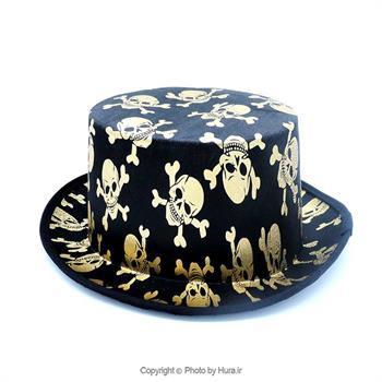 کلاه پارچه ای شاپو لبه دار بلند مشکی چاپ اسکلت ط 2