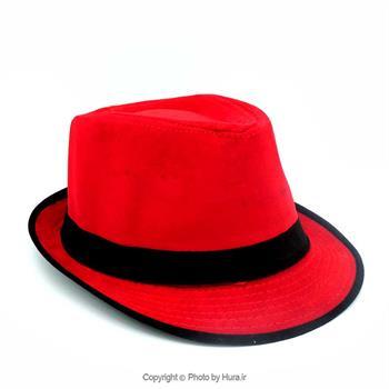 کلاه پارچه ای شاپو مخملی قرمز روبان مشکی ط 8