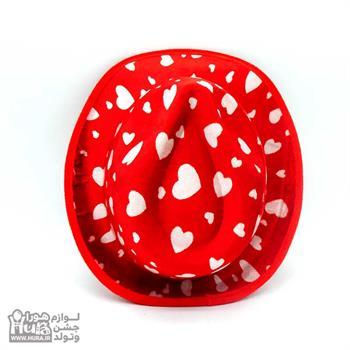 کلاه پارچه ای شاپو مخملی قرمز چاپ قلب ط 11